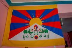 Закройте вверх 2 покрашенных львов в смертной казни через повешение флага в желтой стене внутри здания в Непале Стоковые Изображения RF