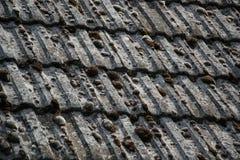 Закройте вверх постаретых плиток толя на старом доме в деревне Много мох на крыть черепицей черепицей крыше hovel небо места доро Стоковое фото RF