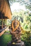 Закройте вверх по бронзовой статуе Ganesha и золотой текстуре Ganeshs индусский бог успеха Остров Бали стоковые фото