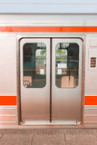Закройте вверх по двери стопа поезда на станции Стоковое Изображение RF