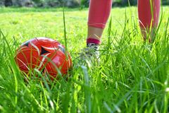 Закройте вверх по взгляду ног ` s девушки и красного шарика на зеленой траве Дети играя концепцию футбола тренировки Стоковые Изображения