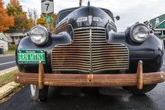 Закройте вверх по взгляду античного автомобиля при номерные знаки Вермонта читая 'зеленые горы', Новая Англия, 16-ое октября 2016 Стоковая Фотография RF