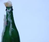 Закройте вверх по взгляду бутылки в льде Стоковая Фотография RF