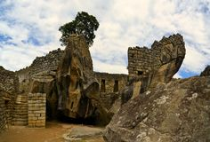 Закройте вверх по взгляду виска, Machu Picchu, потерянного Inca Стоковое Изображение