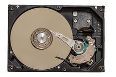 Закройте вверх по взгляду жесткого диска компьютера на белизне Стоковая Фотография