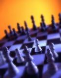 Закройте вверх по взгляду шахматной доски показывая белые части Стоковое Изображение
