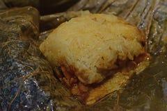 Закройте вверх по взгляду glutinous риса обернутому в лист лотоса стоковое фото