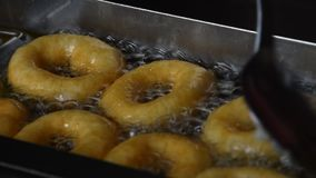 Закройте вверх по глубоким жаря donuts кольца в масле акции видеоматериалы