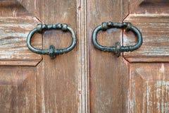 Закройте вверх по деревянной двери Стоковые Фото