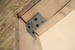 Закройте вверх по детали элементов стены конструкции дома деревянных Inte Стоковое Изображение