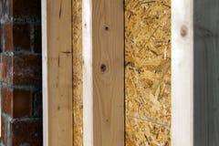 Закройте вверх по детали элементов стены конструкции дома деревянных Inte Стоковые Изображения RF