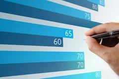 Закройте вверх по диаграмме ручки удерживания руки бизнесмена указывая на компьтер-книжке s Стоковые Фотографии RF