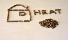 Закройте вверх по изображению деревянных стерженей зерна топлива лепешки формируя форму дома и писем стоковое изображение
