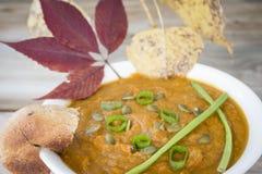 Закройте вверх по изображению шара супа тыквы с зеленым луком на верхней части Стоковые Фото