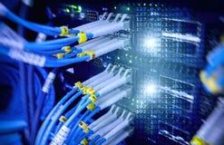 Закройте вверх по кабелю оптического волокна Шкафы серверов Стоковые Фотографии RF