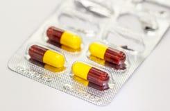 Закройте вверх по капсулам вида лекарства Стоковое Изображение