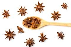 Закройте вверх по коричневой специи анисовки звезды в деревянной ложке изолированной дальше Стоковая Фотография RF