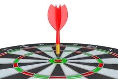 Закройте вверх по красной стрелке дротика в центре  dartboard Стоковое Фото