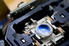 Закройте вверх по макросу Лазер возглавляет читателя оборудования системы чд-плеера стоковые фото