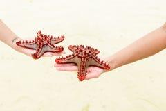 Закройте вверх по морским звёздам в руках женщин каникула зонтика неба пляжа предпосылки голубая цветастая стоковые фото
