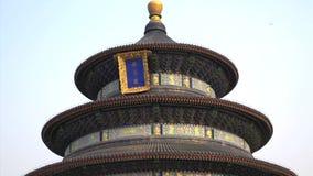 Закройте вверх по наклону к верхней части Temple of Heaven в Пекине сток-видео