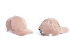 Закройте вверх по новой коричневой шляпе бейсбола изолированной на белизне Стоковое Изображение RF