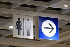 Закройте вверх по логотипу санузла человека и женщины стоковое изображение rf
