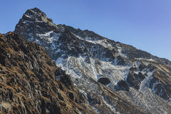Закройте вверх по долине Yumthang тот взгляд от высокого уровня в зиме на Lachung Северный Сикким, Индия Стоковое Изображение RF