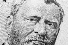 Закройте вверх по портрету взгляда Ulysses s Grant на одной долларовой банкноте 50 Предпосылка денег долларовая банкнота 50 с Uly стоковое изображение rf