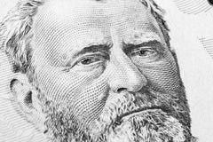 Закройте вверх по портрету взгляда Ulysses s Grant на одной долларовой банкноте 50 Предпосылка денег долларовая банкнота 50 с Uly стоковое изображение