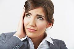Закройте вверх по портрету женщины с головной болью Стоковые Изображения