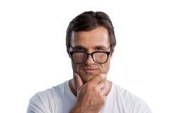 Закройте вверх по портрету зрелого человека с рукой на подбородке Стоковая Фотография RF