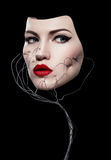 Закройте вверх по портрету красивой стороны ` s женщин стоковое фото rf