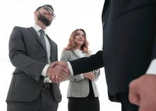 Закройте вверх по рукопожатию бизнесмена совместно на конференц-зале Стоковые Фото