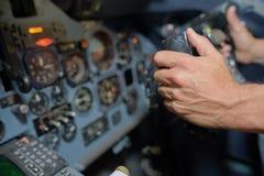 Закройте вверх по рычагам управления в кабине летчика Стоковое Фото
