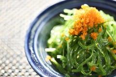 Закройте вверх по салату морской водоросли японского стиля, салату Wakame Стоковое Изображение RF