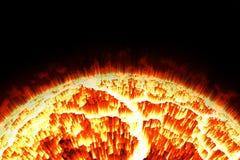 Закройте вверх по солнцу и пламени Стоковые Изображения