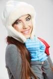 Закройте вверх по стороне девушки изолированная красоткой белизна портрета женские модельные детеныши Стоковая Фотография RF