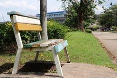 Закройте вверх по стулу в парке стоковое изображение rf