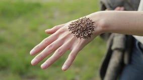 Закройте вверх по съемке женской руки с татуировкой хны Милая девушка показывая ее новое флористическое mehendi к камере сток-видео