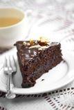 Закройте вверх по темному шоколадному торту стоковое изображение