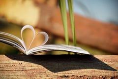 Закройте вверх по форме сердца от бумажной книги на древесине с винтажной предпосылкой нерезкости фильтра Стоковые Изображения RF