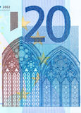 Закройте вверх по фото части 20 евро, съемка макроса Высокое resolu Стоковая Фотография