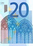 Закройте вверх по фото части 20 евро, съемка макроса Высокое resolu Стоковая Фотография RF
