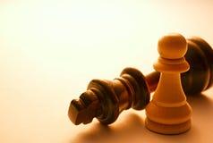Закройте вверх по 2 черно-белым шахматным фигурам Стоковые Изображения RF