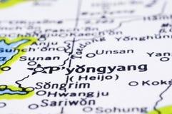 Закройте вверх Пхеньян на карте, Северной Корее Стоковая Фотография RF