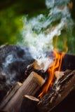 Закройте вверх пламен лагерного костера Стоковые Изображения RF