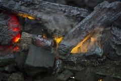 Закройте вверх пламен в огне журнала в уютном грейте огонь Стоковые Фото