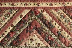 Закройте вверх раздела винтажного Handmade лоскутного одеяла Стоковое Фото