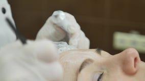 Закройте вверх руки cosmetologist прикладывая cream маску на женской стороне Она держит щетку Красивая молодая женщина сток-видео